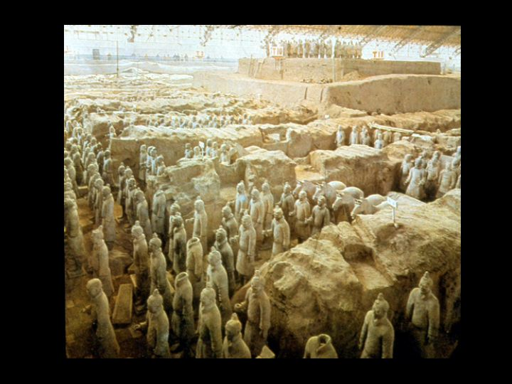 Emperor Qin's maulsoleum, containing the Terracotta Warriors, all different in their facial details.